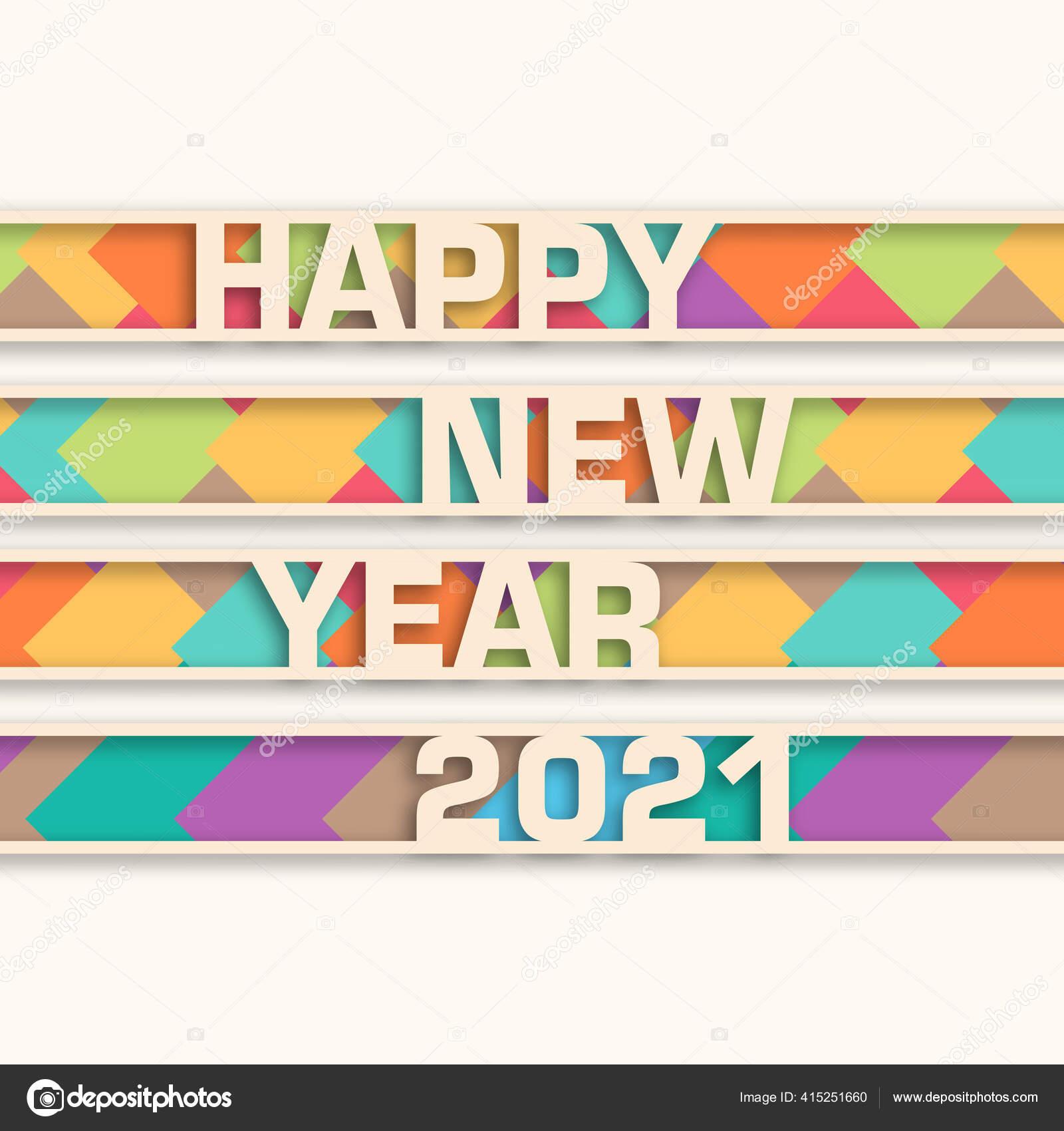 Happy New Year 2021 Text Design Vector Stok Vektor C Epiccreations 415251660