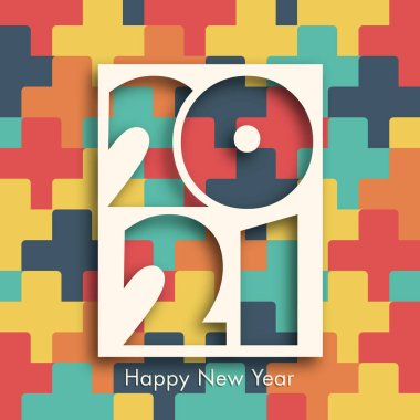 Happy new year 2021 Text Design vector.