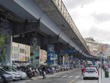 Genoa (Genova) Italy_December 21, 2018: Genoa's famous elevated road