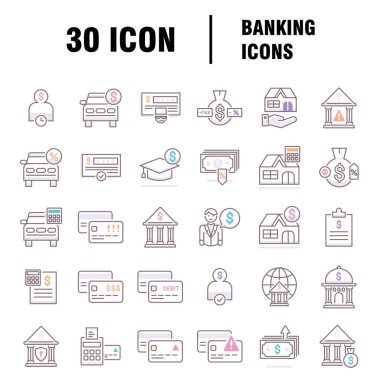 Banking Pack Icon. Isolated on white background icon