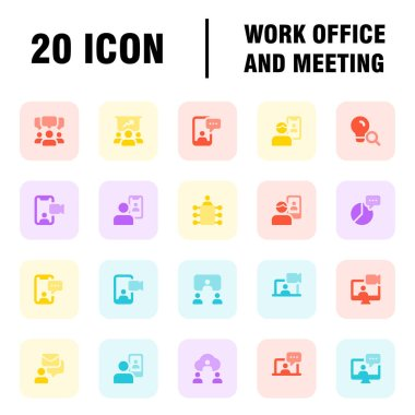 Work Office And Meeting Pack Icons. Isolated on white background icon