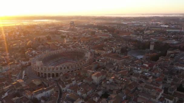 Letecký návrat po aréně amfiteátru Arles, Francie