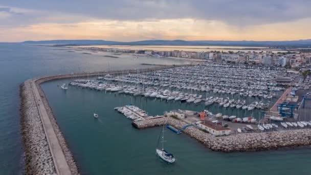 Palavas les Flots přístav volný čas přístav Francie hyperlapse letecký západ slunce pohled Francie Středozemní moře