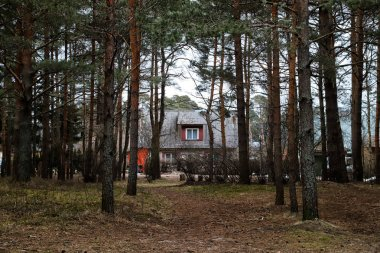 Estonia, Tallin - March 31, 2018: Private small house in the outskirts of Tallinn city