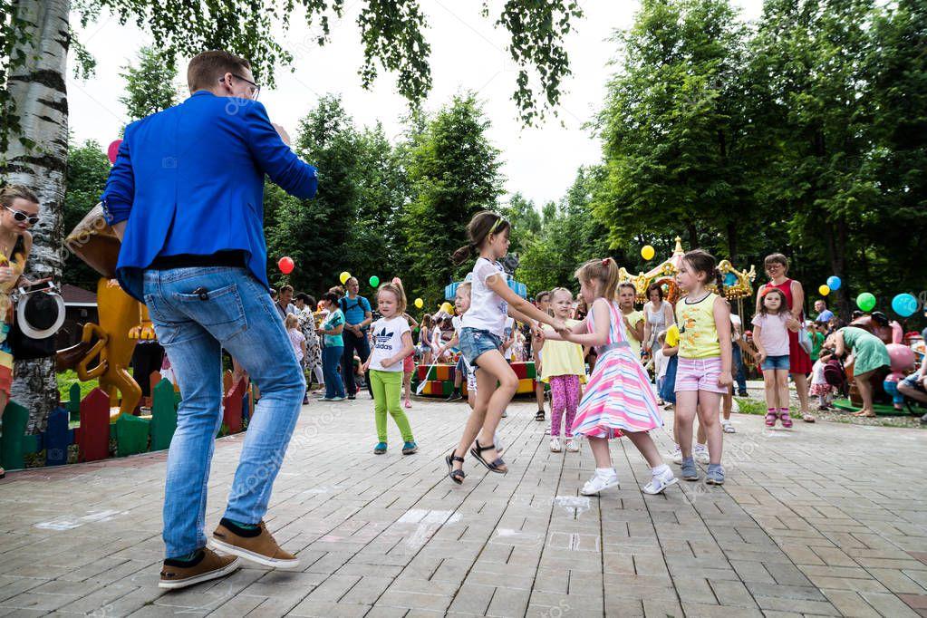 Kirov, Russia - July 08, 2018: Children have fun in a summer park MultiLand in Kirov city