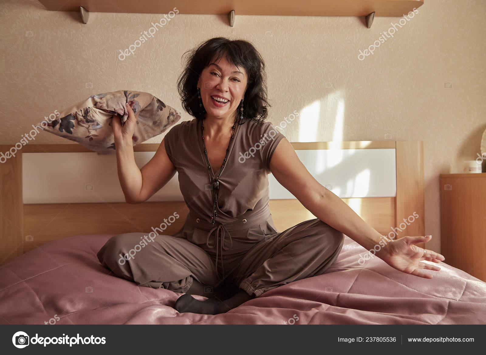 Nice Middle Aged Woman Bed Room Lady Home Have Rest Stock Photo C Keleny 237805536