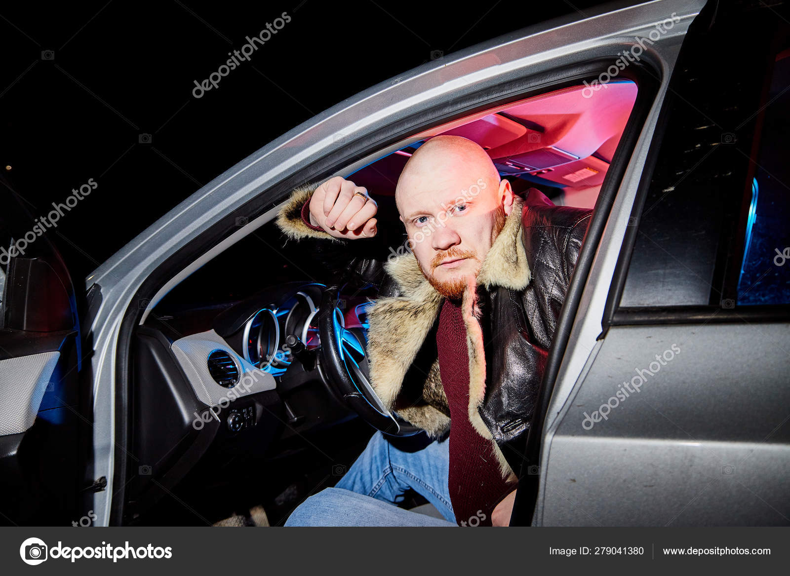 Male Driver In A Leather Jacket In The Car In The Dark Night Photo Shoot Stock Photo C Keleny 279041380