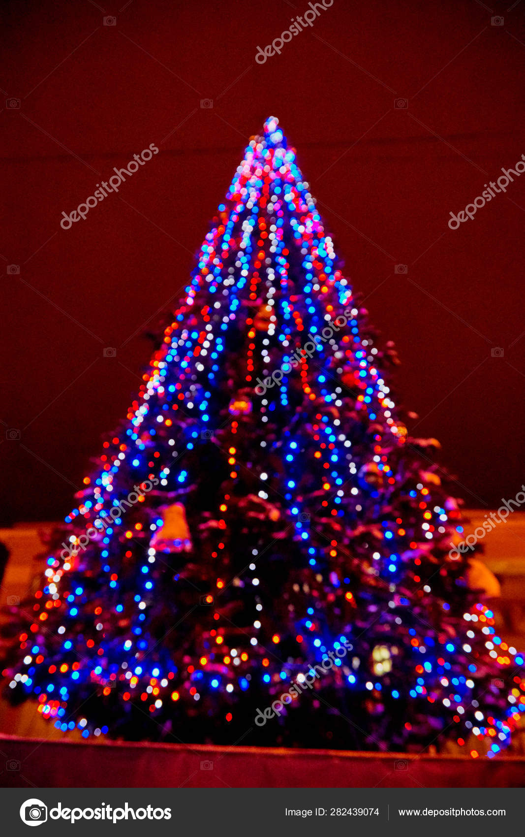 Abstract Texture With Light Blue And Red Bokeh And Black Background Christmas Tree In Blur Stock Photo Image By C Keleny 282439074