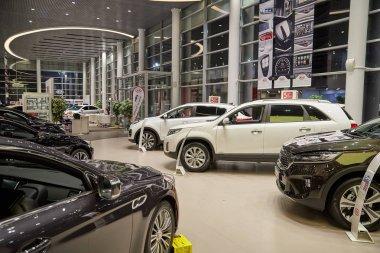 Kazan, Russia - October 16, 2018: Cars in showroom of dealership Kia in Kazan in 2018