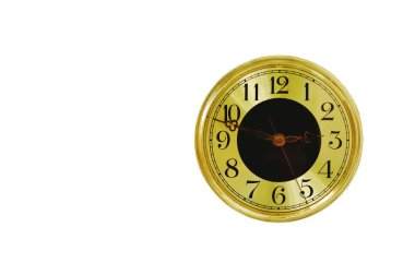 golden circle clock isolated on white background