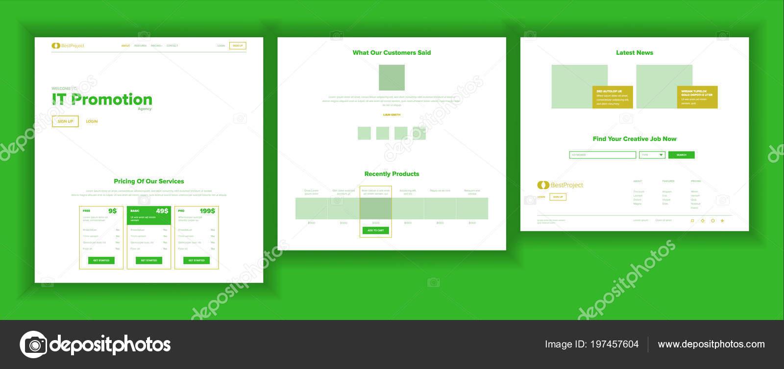 Vector de plantilla de diseño de página web. Aterrizaje de negocios ...