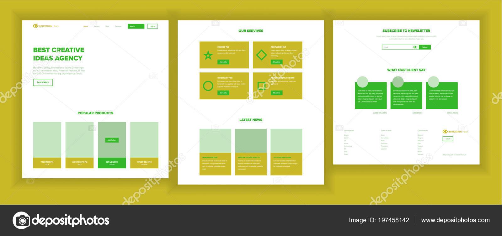 Vector de plantilla de diseño de página web. Interfaz de negocios ...