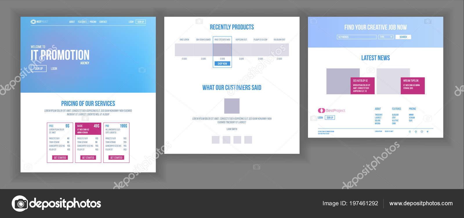 Vector de plantilla de página web. Página proyecto de negocios ...
