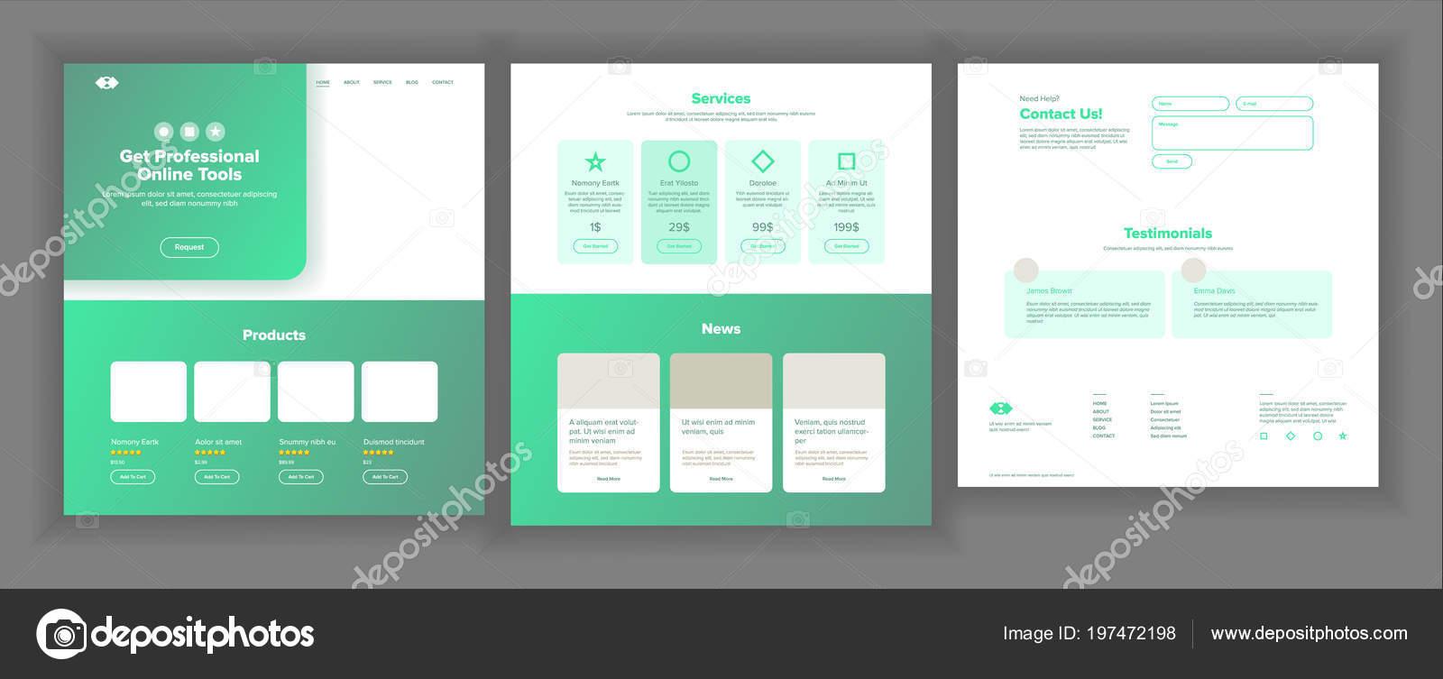 Vector de diseño de página web. Sitio web negocio gráfico. Interfaz ...