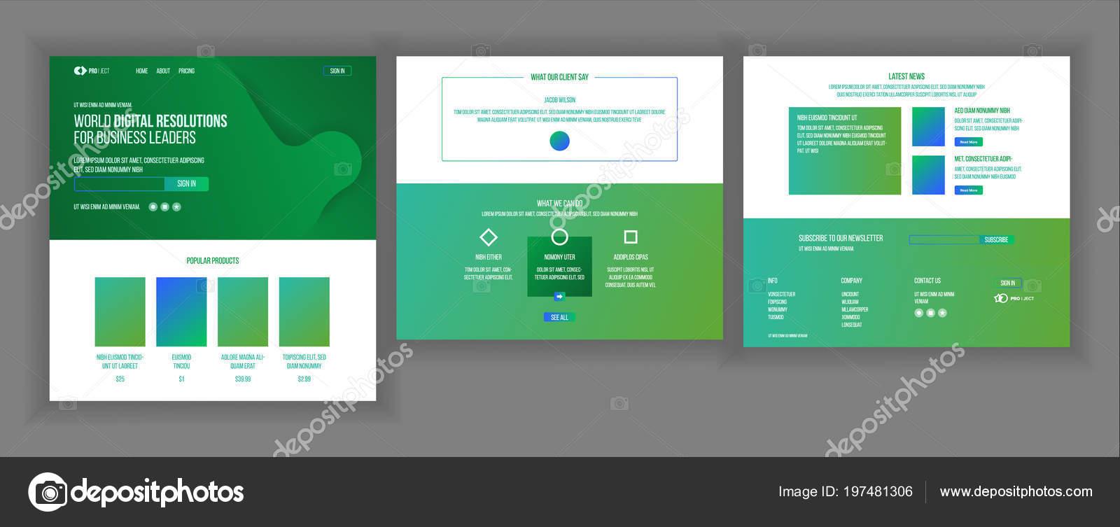Vector Plantilla Diseño Página Web Aterrizaje Negocios Página Web ...