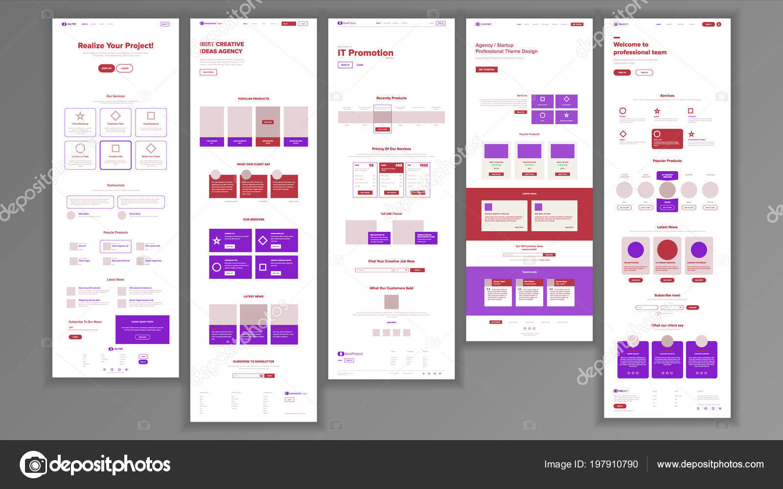 Website Template Vector Page Business Technology Landing Web Page