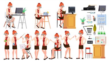 Office Worker Vector. Woman. Professional Officer, Clerk. Adult Business Female. Lady Face Emotions, Various Gestures. Isolated Cartoon Illustration