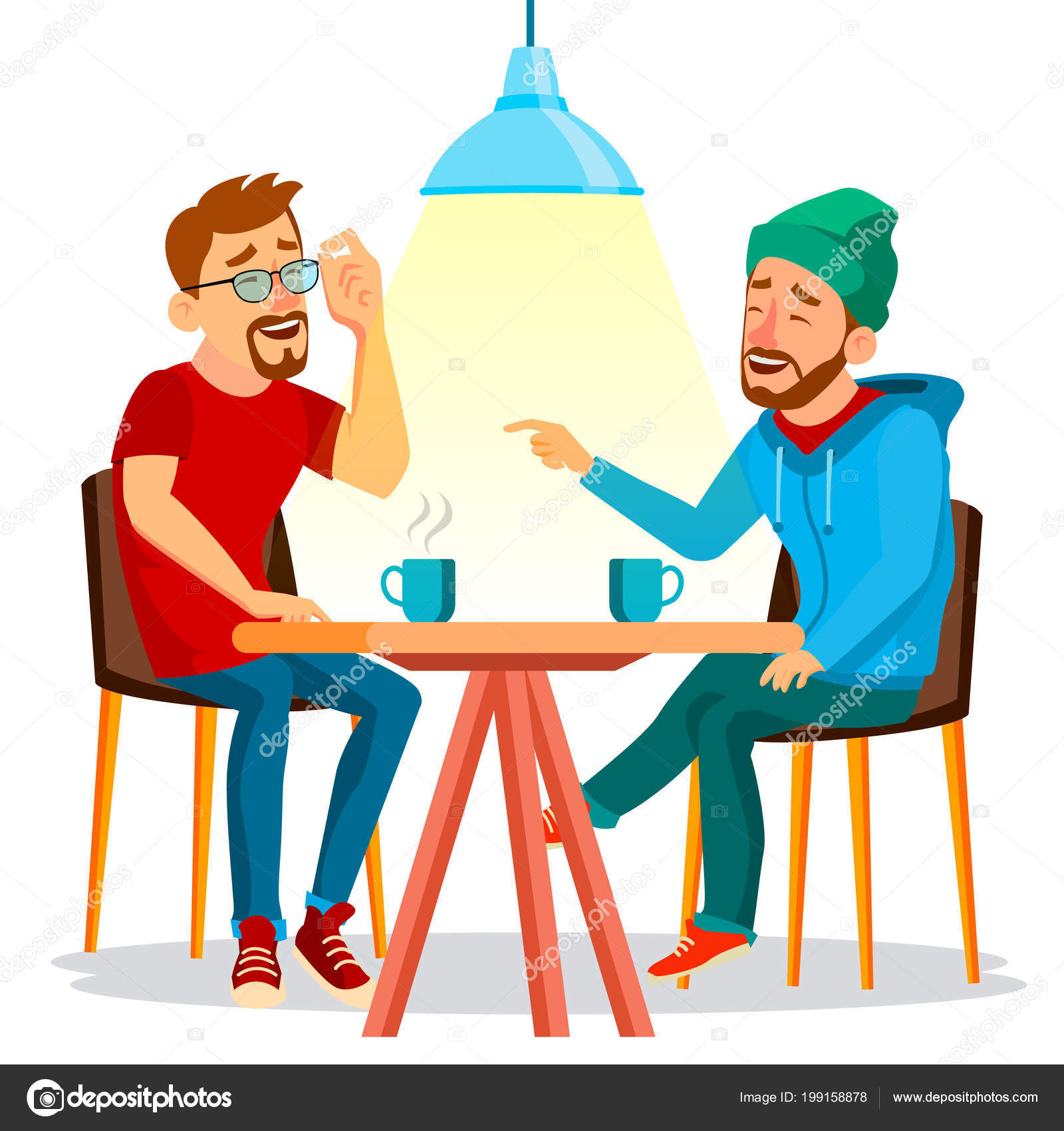 Two Man Friends Drinking Coffee Vector  Best Friends In Cafe