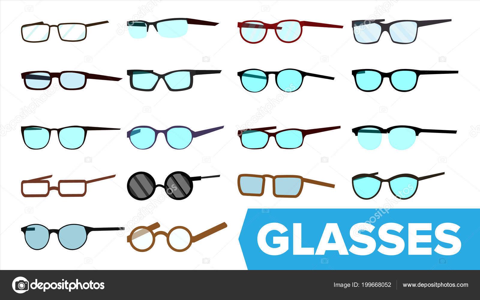 Gläser Set Vector. Moderne Brillen-Symbol. Verschiedene Brillen ...