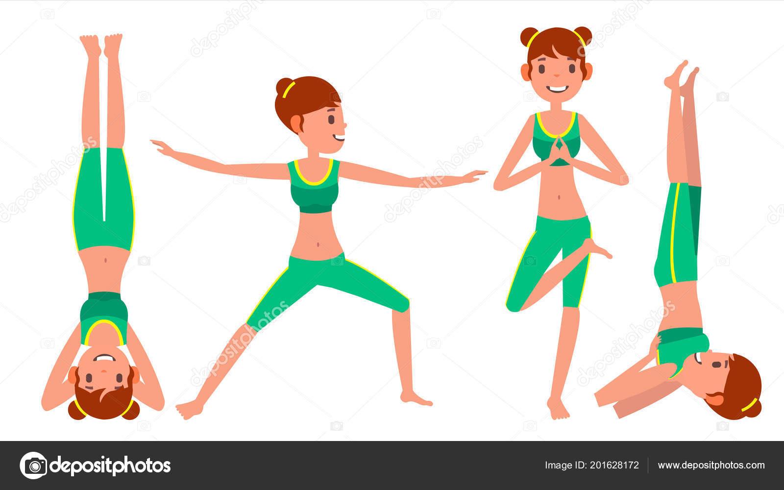 Mujer de yoga plantea establecer Vector hembra. Figuras de la yoga ... 12b72872eaf1