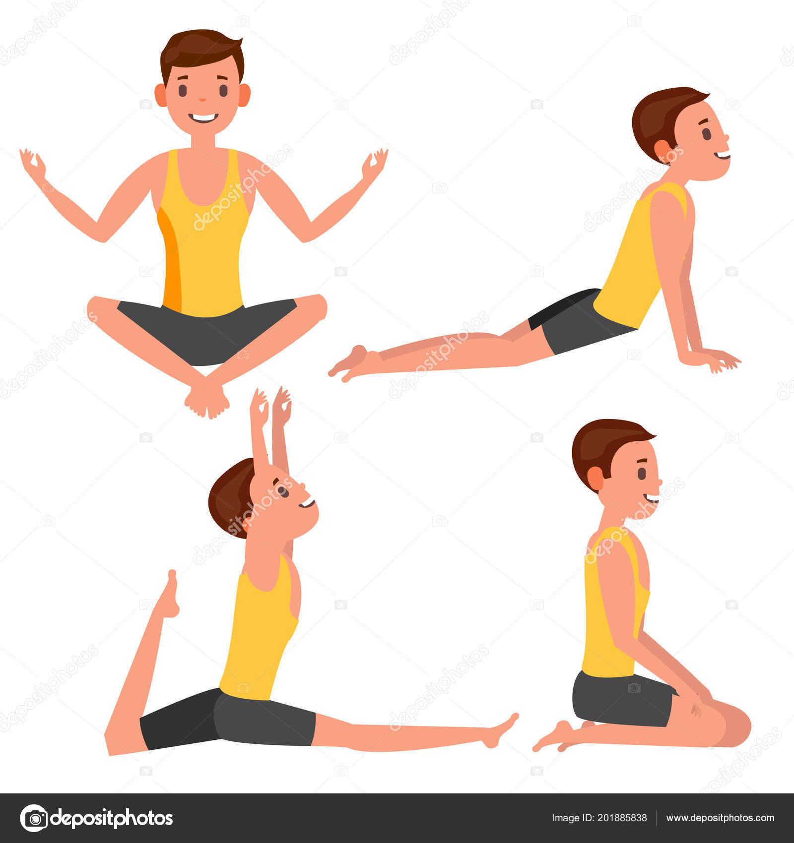 Yoga hombre plantea establecer Vector. Chica. Posturas de yoga. Haciendo  ejercicios de Yoga. Ilustración de dibujos animados plana — Vector de  pikepicture 7c8de008c9ef