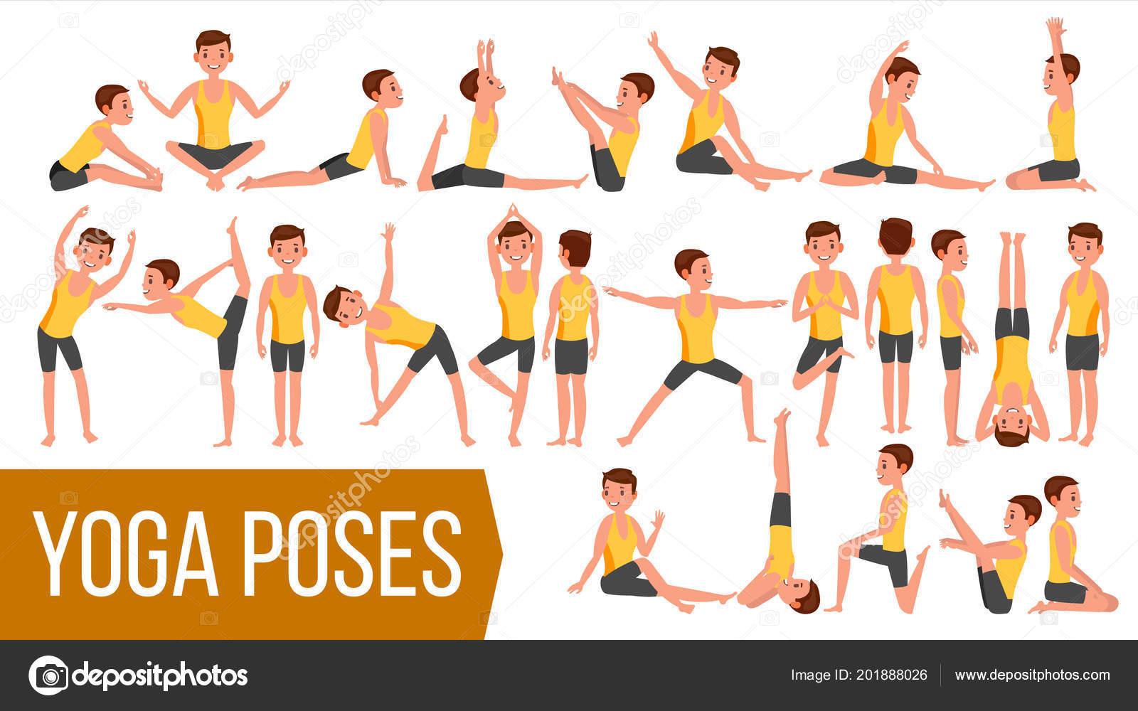 Yoga hombre plantea establecer Vector. Relajación y meditación.  Estiramiento y torsión. Practicando. 20939acc3814