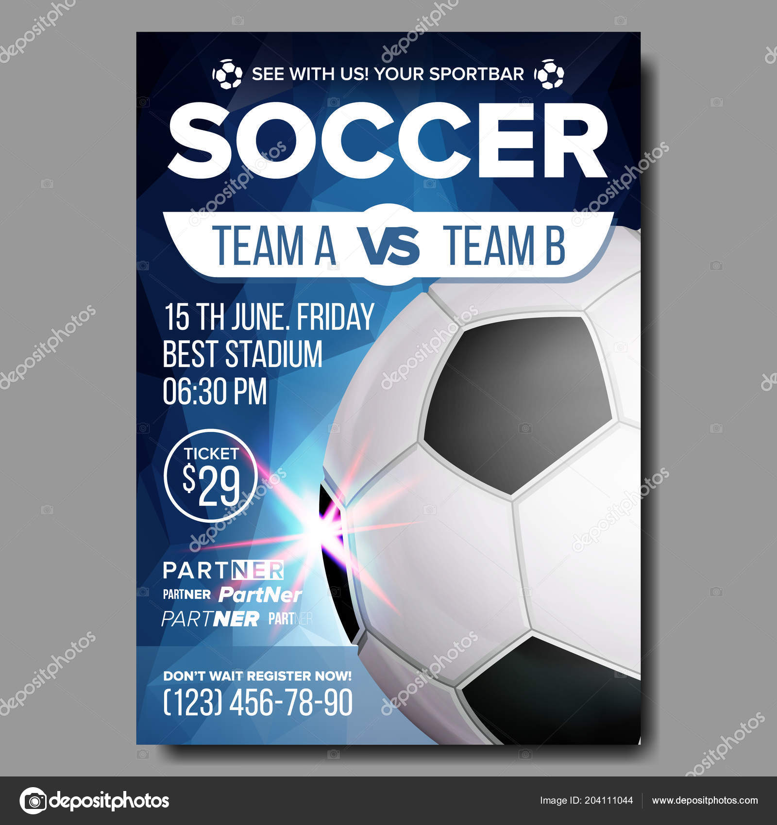 Soccer poster vector sports bar game event announcement football sport event announcement football ball competition announcement game league design championship layout illustration vetor de pikepicture stopboris Choice Image