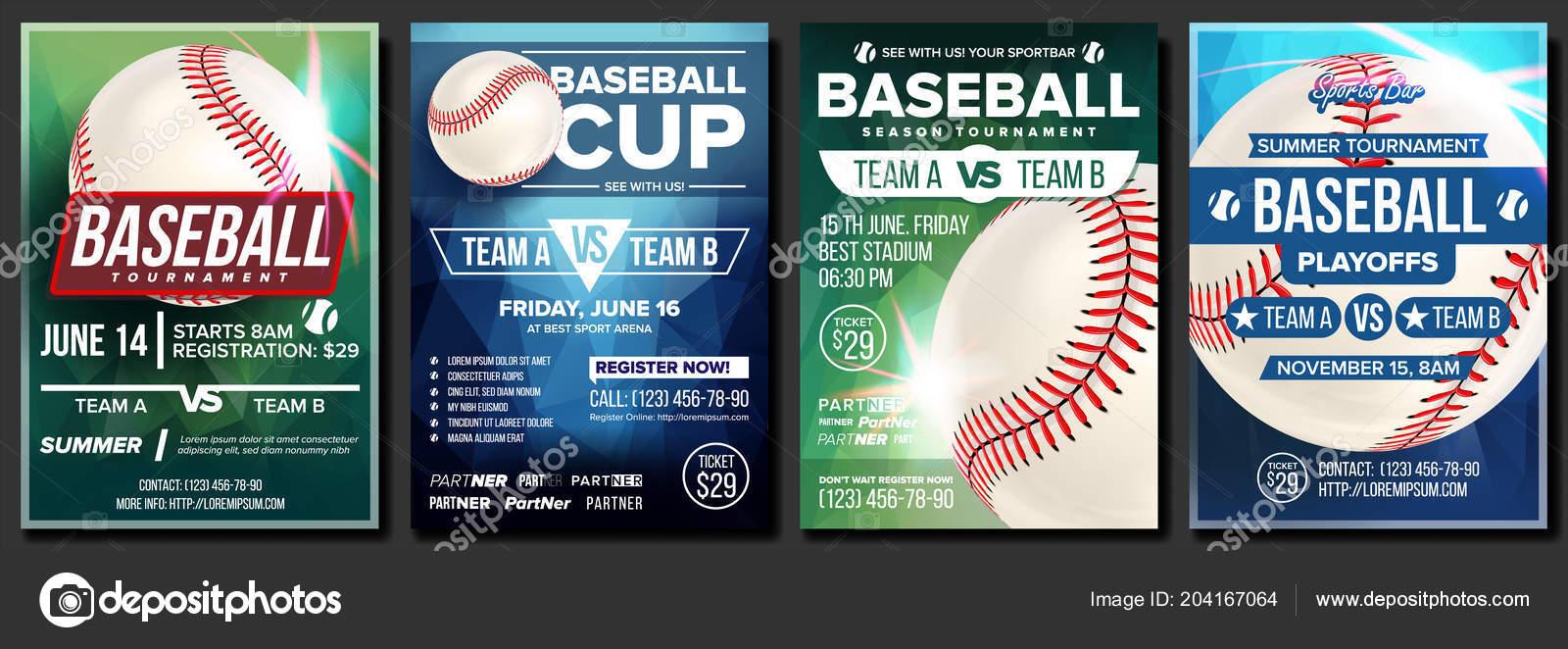 baseball poster set vector design for sport bar promotion base