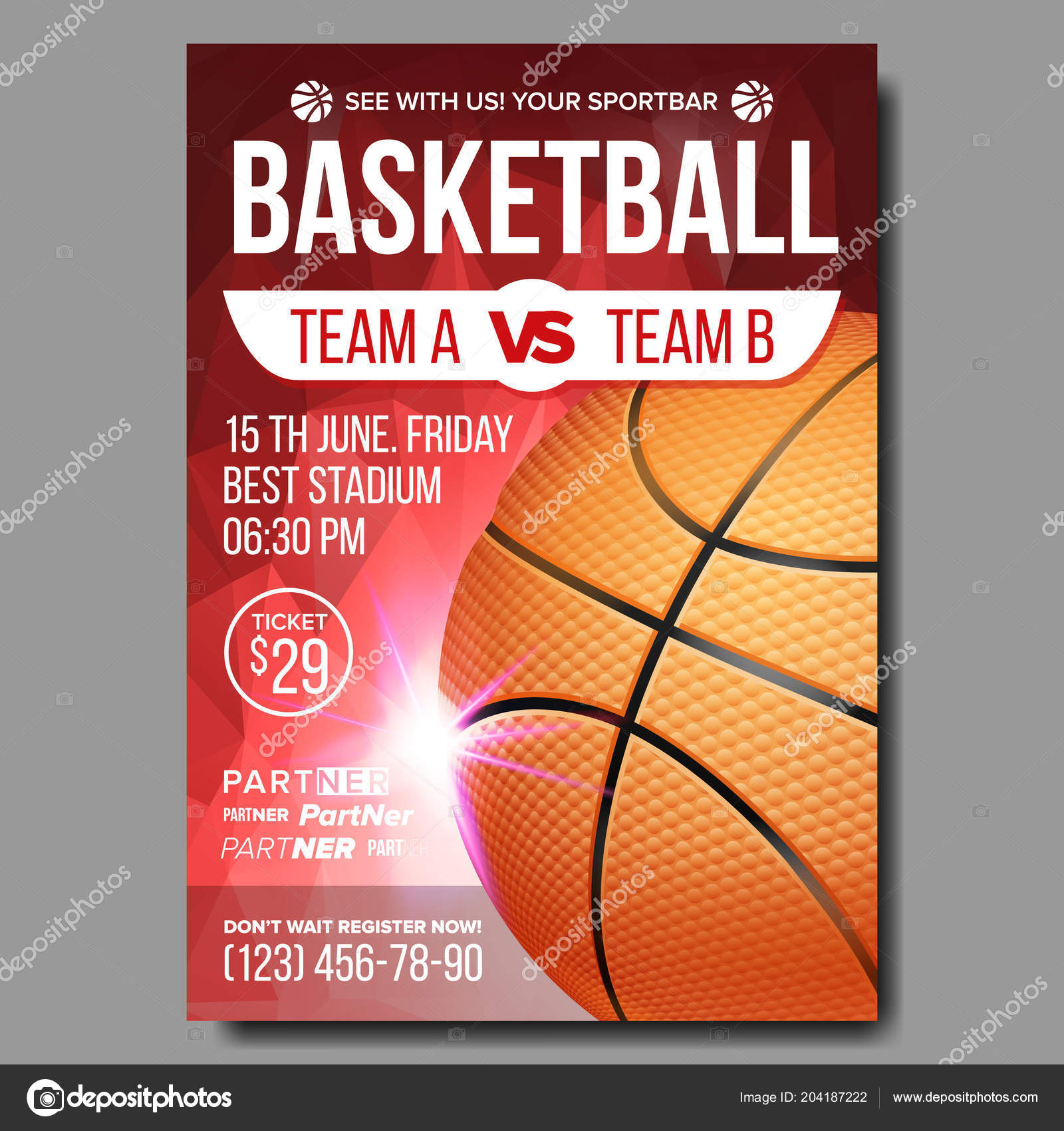 sport event announcement banner advertising leaflet ball professional league