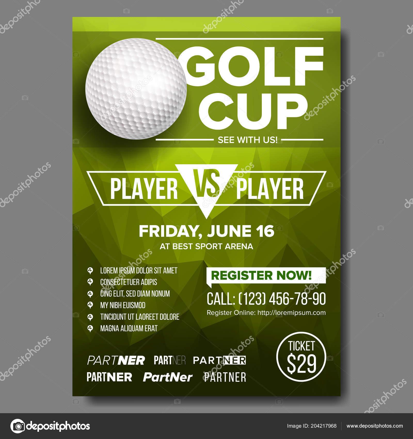 Golf Poster Vector Golf Ball Vertical Design For Sport Bar Promotion Tournament Championship Flyer Design Golf Club Flyer Invitation Label Illustration Stock Vector C Pikepicture 204217968
