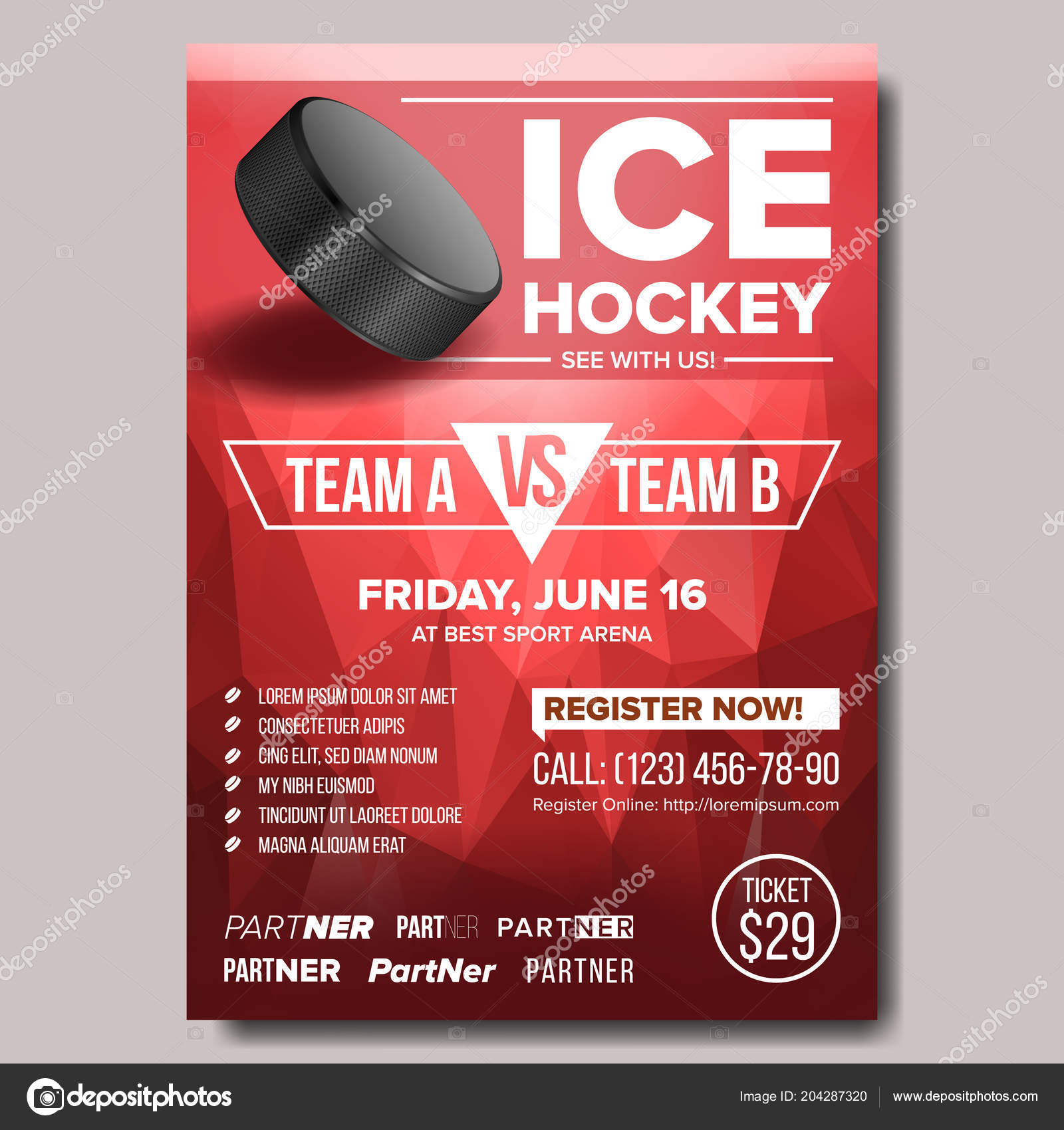 Ice Hockey Poster Vector. Ice Hockey Puck. Vertical Design For Sport ...