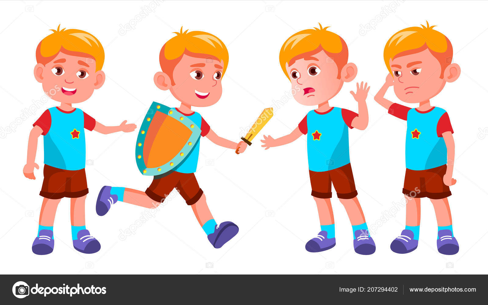 Boy Skolky Kid Predstavuje Set Vector Stastne Deti Charakter Hlidani