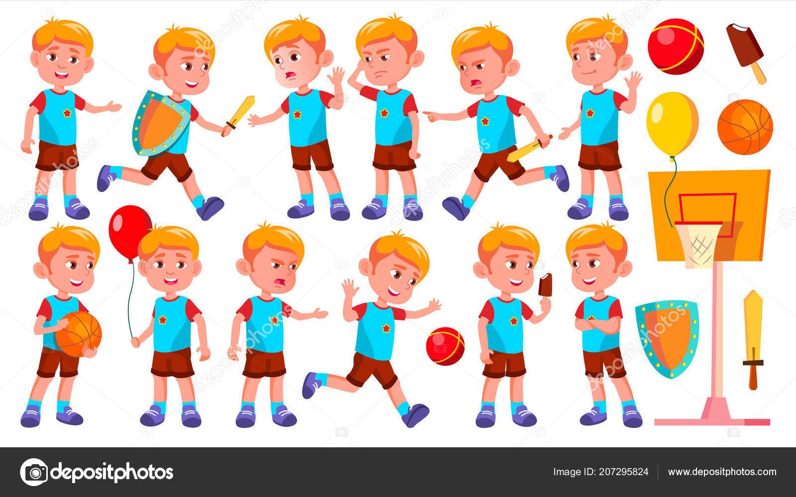 Boy Skolky Kid Predstavuje Set Vector Stastne Deti Charakter