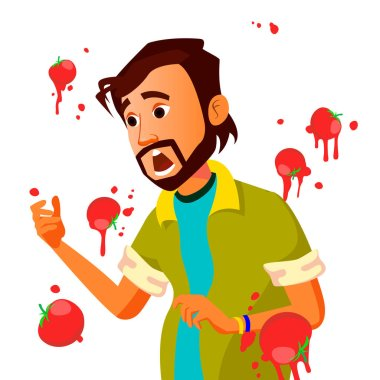 Businessman Having Tomatoes Fail Speech Vector. Unsuccessful Presentation. Bad Public Speech. Indian Man Having Tomatoes From Crowd. Isolated Illustration
