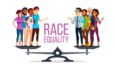 Race Equality Vector. Standing On Scales. Equal Opportunity. No Racism. Different Race Together. Tolerance. Isolated Flat Cartoon Illustration