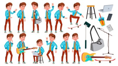 Teen Boy Poses Set Vector. Adult People. Casual. For Advertisement, Greeting, Announcement Design. Isolated Cartoon Illustration