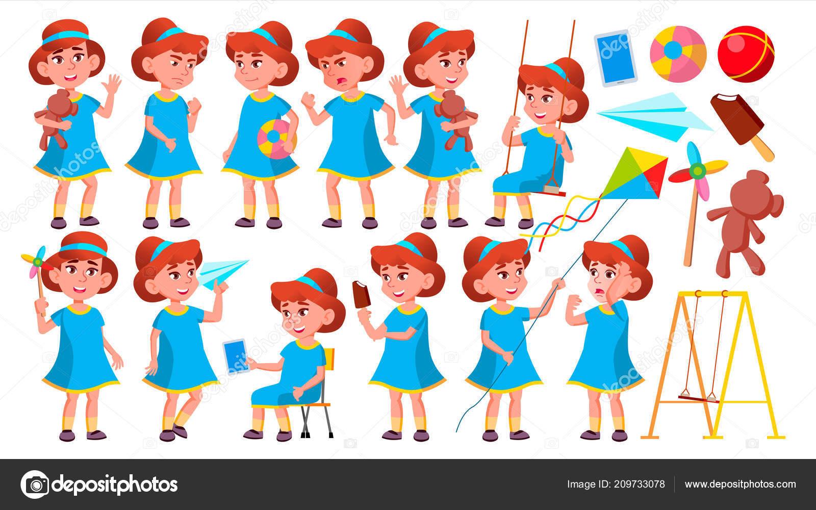 Divka Skolky Kid Predstavuje Set Vector Stastne Deti Charakter