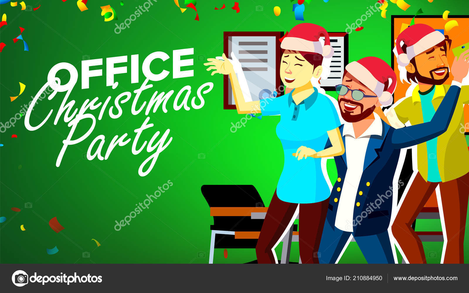 Christmas Party In Office Vector. New Year s Hats. Having Fun. Happy ...