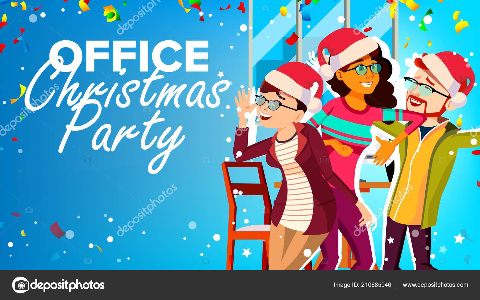 Weihnachtsfeier Cartoon.Weihnachtsfeier Im Büro Vektor Neujahr S Hüte Spaß Zu Haben