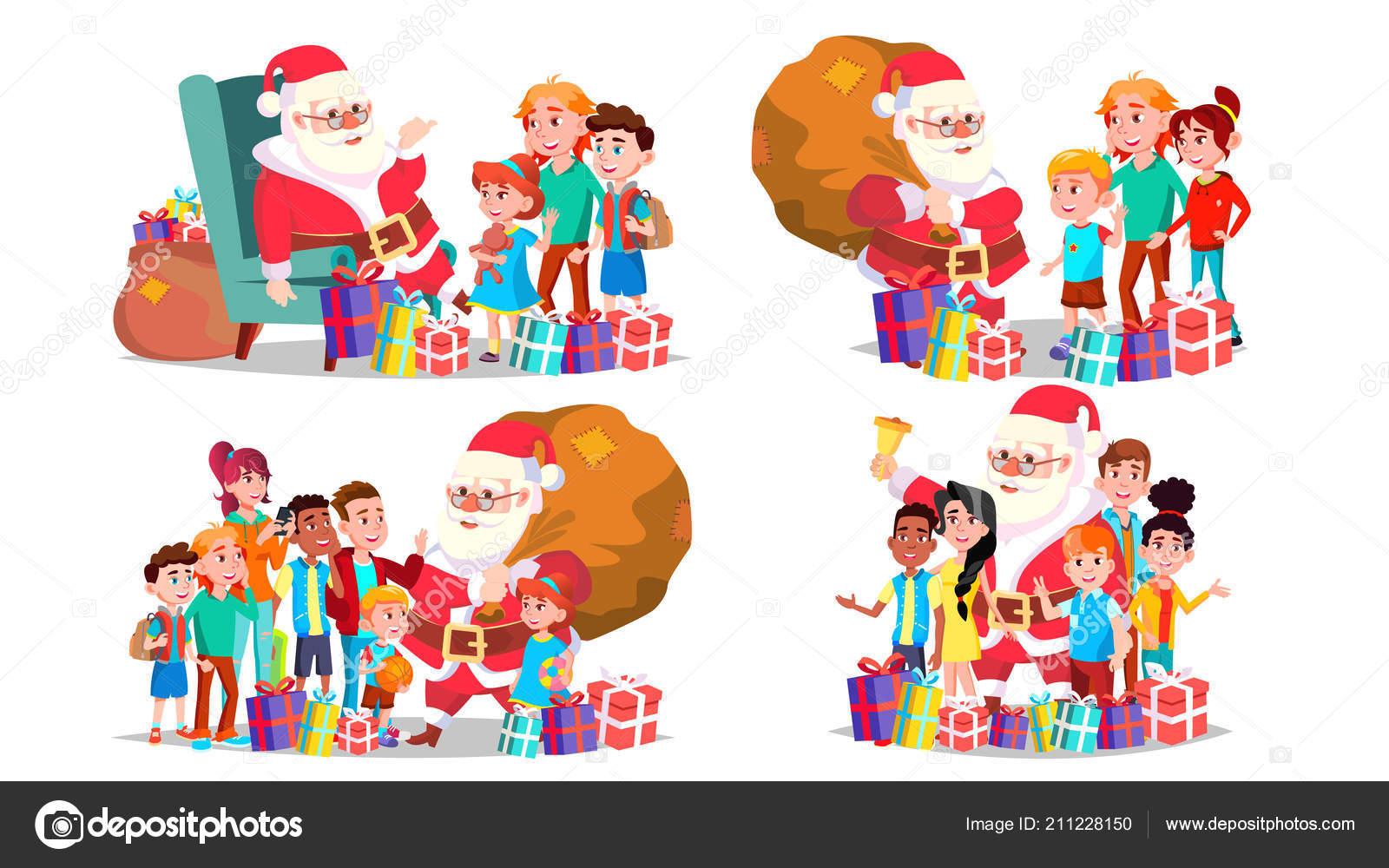 Buon Natale Per Bambini.Babbo Natale Con Bambini Set Vettoriale Bambini Allegri Vigilia Di
