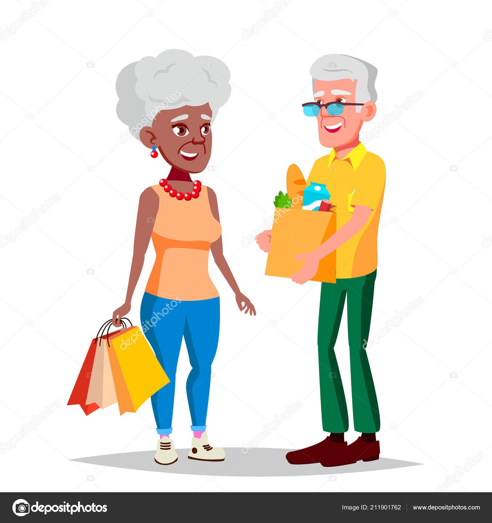 Starsi Par Vektor Deda S Babickou Socialni Koncepce Starsi Par