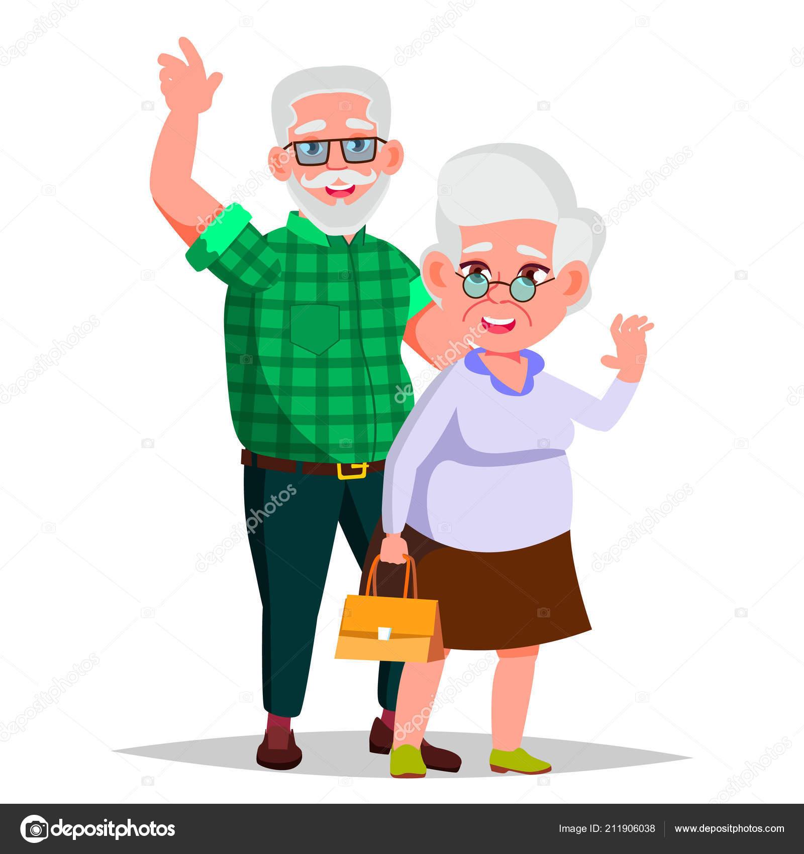 Starsi Par Vektor Deda S Babickou Zivotni Styl Par Starsich Lidi