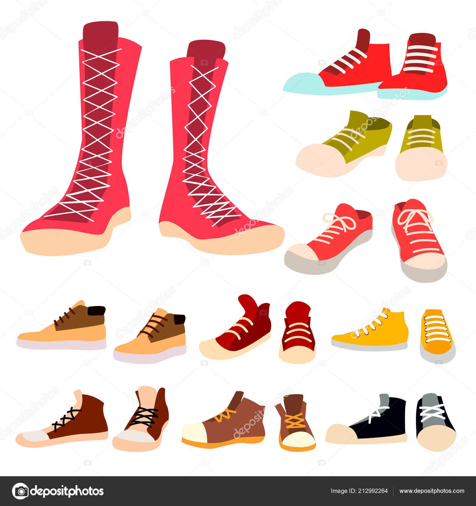 66042a7c Кроссовки задать вектор. Пара случайных новых спортивная обувь. Ноги одежды,  обуви, шнурки для обуви. Запуск, спорт. Изолированных иллюстрация — Вектор  от ...