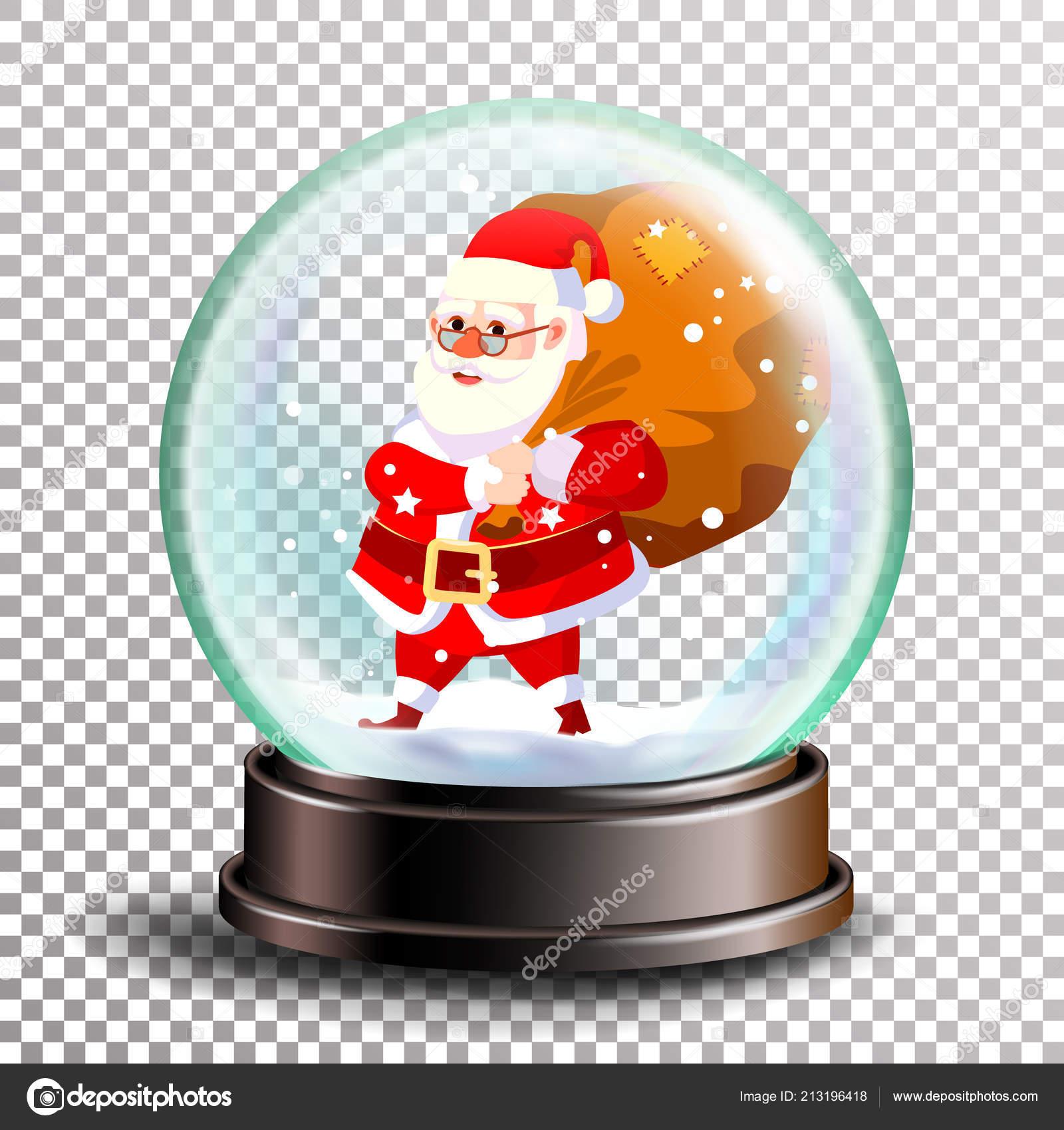 Weihnachten-Schneekugel-Vektor. Süßer Weihnachtsmann mit Geschenken ...