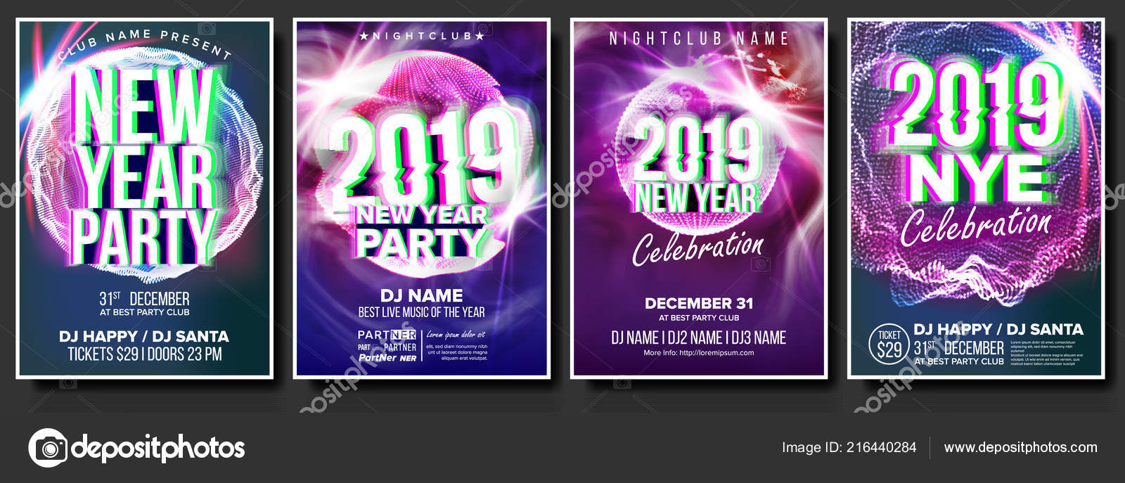 2019 party flyer poster set vector night club celebration musical concert banner happy new year celebration template background christmas disco light