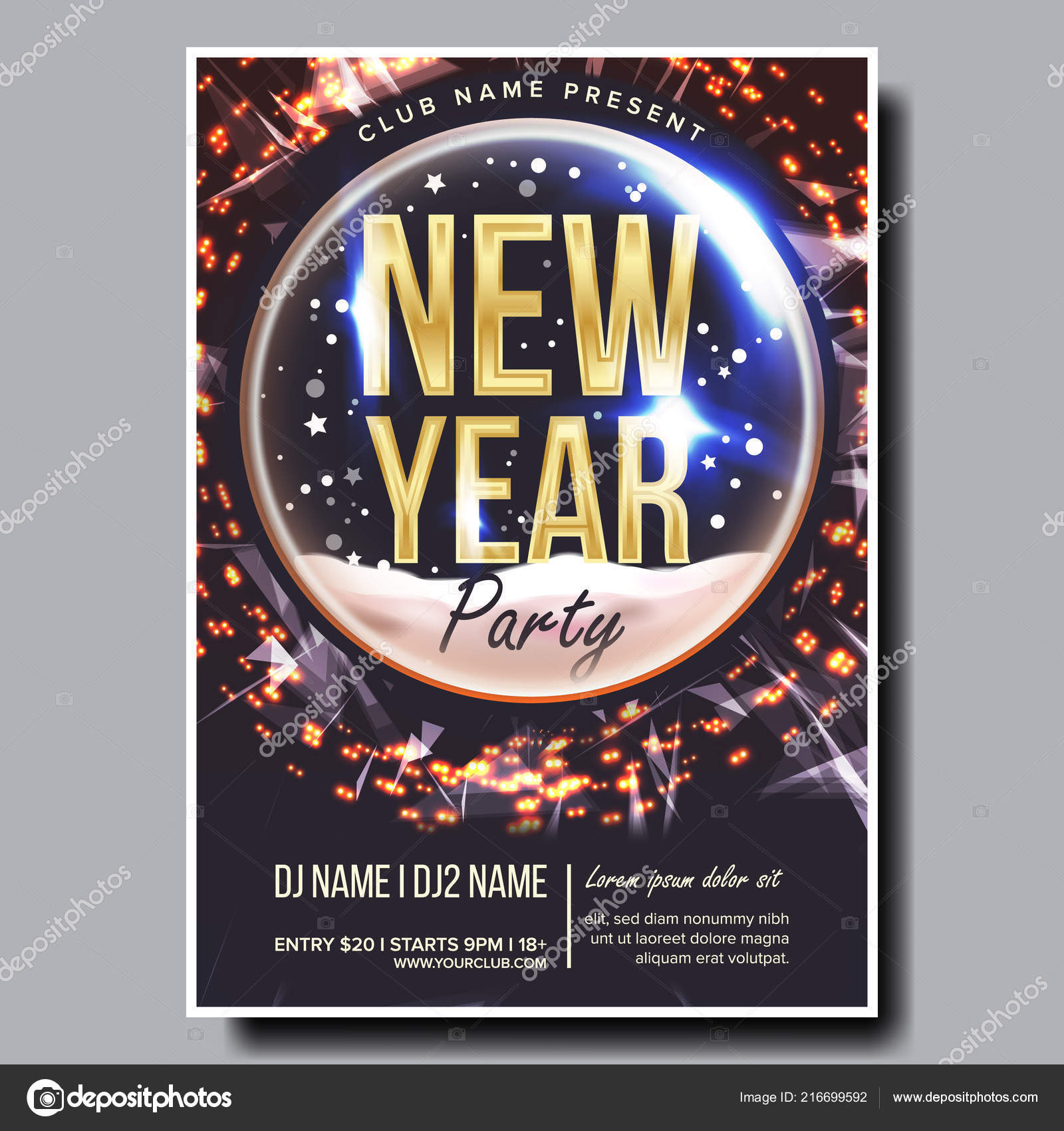 2019 party flyer poster vector happy new year celebration template winter background design illustration vector by pikepicture