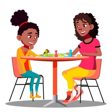 Mother And Daughter Playing A Board Game Together Vector. Illustration stock vector