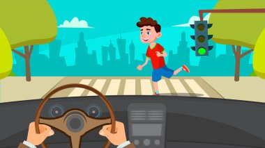 Little Boy Runing Across The Road In Front Of The Car A Frightened Driver Vector. Isolated Illustration