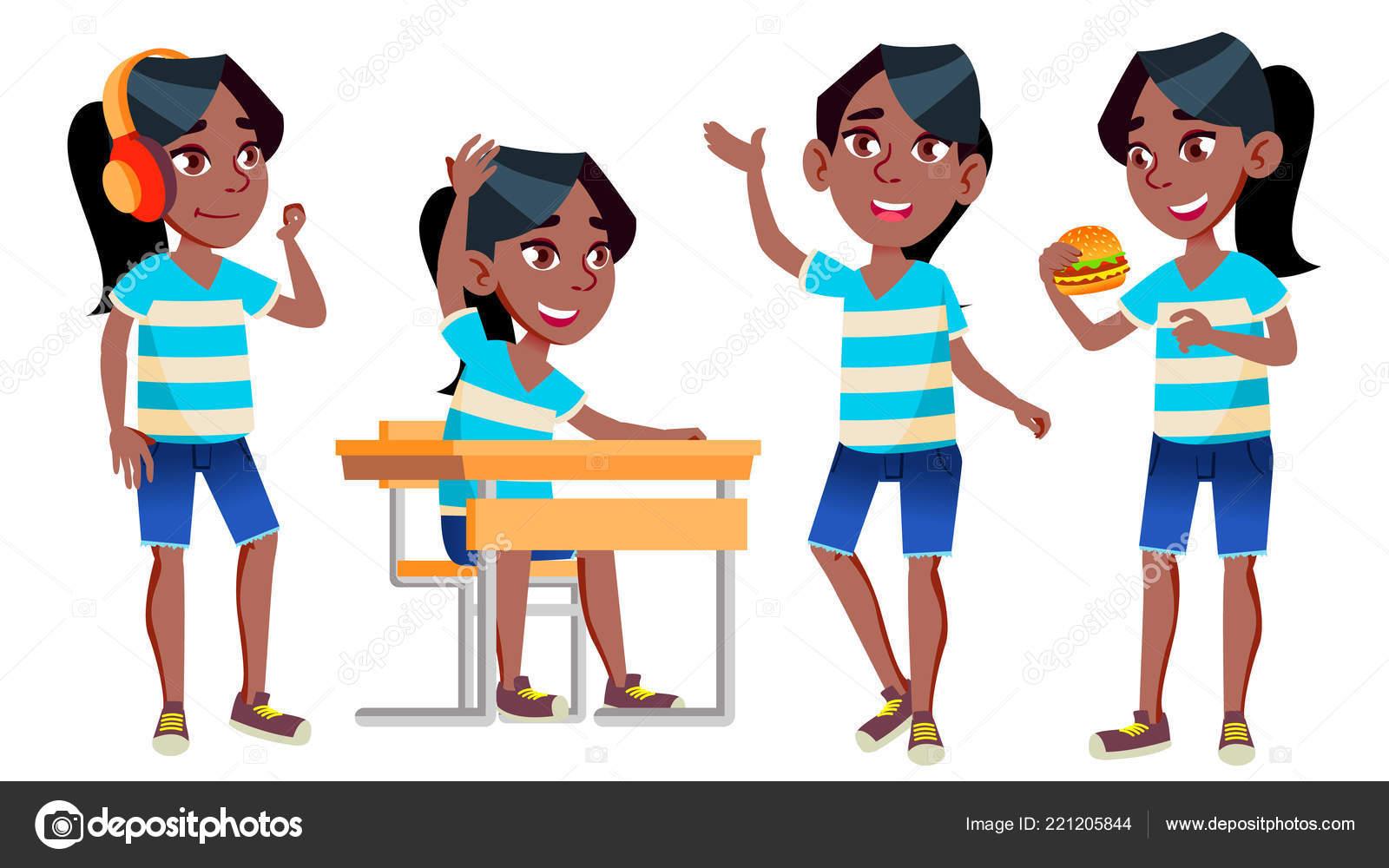 Jeune Fille écolière Kid Pose Set Vector Noir Afro