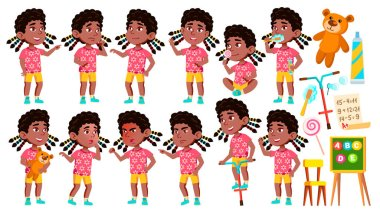 Girl Kindergarten Kid Poses Set Vector. Black. Afro American. Caucasian Child Expression. Activity. For Banner, Flyer, Web Design. Isolated Illustration clip art vector